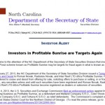 UPDATE: North Carolina Says Profitable Sunrise Investors Have Been Targeted In 'Reload Scams' Like Zeek Rewards Investors Before Them